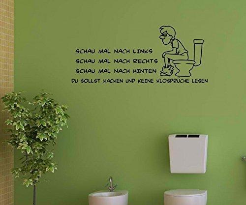 Wandtattoo WC Toilette Spruch 'Keine Klosprüche Lesen' Sticker Aufkleber 1K270, Farbe:Königsblau Matt;Breite vom Motiv:40cm