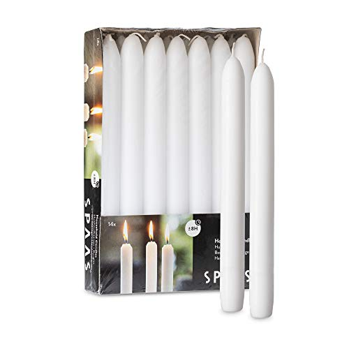 SPAAS White Dinner Candle Sticks - 14 Pack   9 Inch Tall White Candlesticks - Burning 8 Hours   Unscented Premium Wax Tall Candlesticks for Home Decoration, Wedding, Holiday and Parties