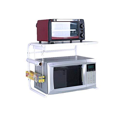KPOON Soporte para Microondas Parrilla Blanca Ajustable De Acero Inoxidable para Horno Microondas De 2 Niveles Montada En El Piso Estante De La Encimera De La Cocina