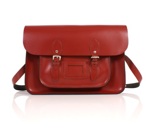 14' Pillarbox Red Real Leather Oxbridge Satchel - Classic Retro Fashion laptop / school bag