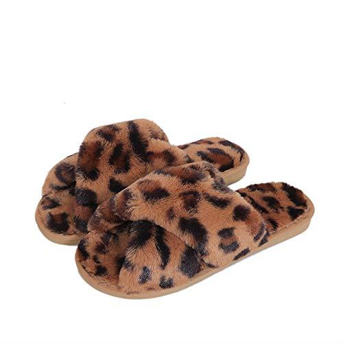 Fericzot Women's Fuzzy Crossband Furry Fur Leopard Slippers Flip Flop Winter Warm Cozy House Memory Foam Sandals Slides Soft Flat Comfy Anti-Slip Spa Indoor Outdoor Slip on Leopard-Brown/2 10-10.5
