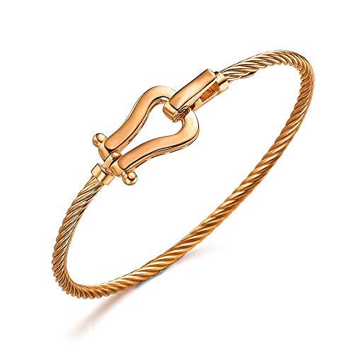 Pulsera con forma de Cordón que se une a un Estribo, todo ello de plata 1ª Ley, recubierto de Oro Rosa 18kt, de LECARRÉ JOYAS.