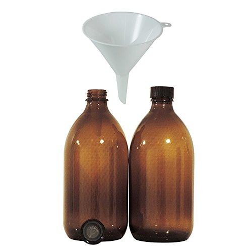 Mikken 2 x botellas de medicina marrón, 500 ml, botella de cuello estrecho con tapón de rosca fabricado en Alemania y sin BPA, incluye embudo