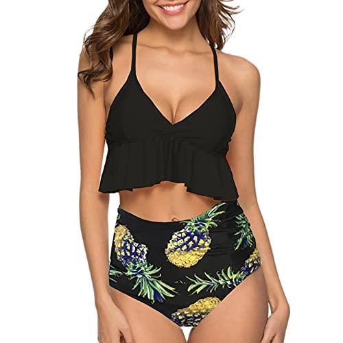 Moda Traje de Baño Mujer con Volante Bikinis Push Up de Dos Piezas Ropa de Baño con Correas Ajustables Tops de Estampado y Bragas de Color Sólido Bañadores Atractivo y Elegante