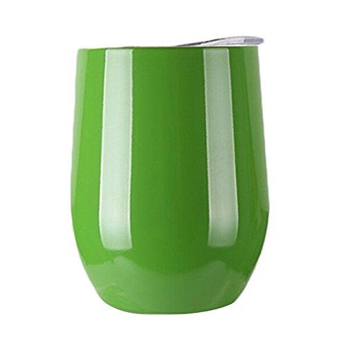 ddellk Wijnglas van roestvrij staal met deksel voor op reis, camping en party-bier-whisky drinken Pendler-Cup 9oz groen