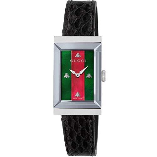 Gucci G-Frame Damen-Armbanduhr Armband Leder Gehäuse Edelstahl Quarz YA147403