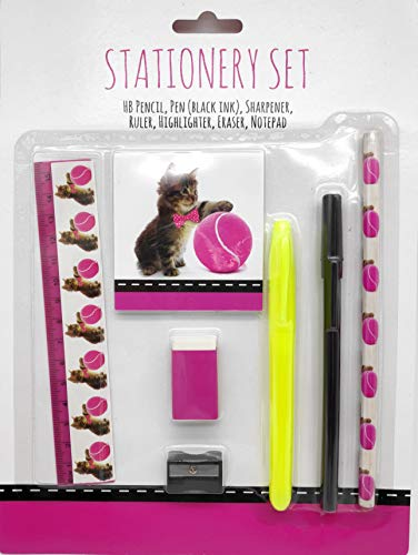 7 Stuks Kitten Themed Stationery Set Inclusief Pen Potlood Highlighter Liniaal Kladblok