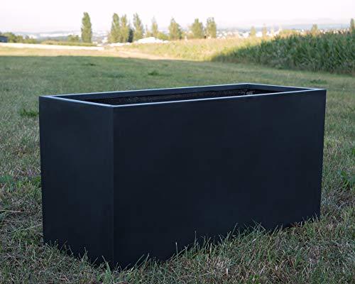 Pflanztrog Fiberglas 100x40x50cm elegant schwarz-matt