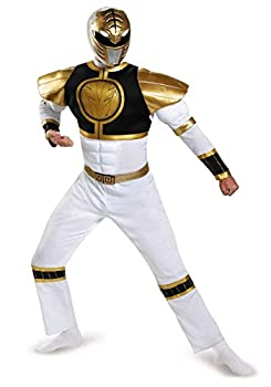 Disguise Power Ranger Adult White Ranger Classic Muscle Costume 82847  Adult X-Large  42-46