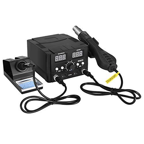 Kit de soldador eléctrico 2 en 1,Vogvigo Kit de soldadura digital Pantalla digital LED SMD para pistola de aire caliente 8582D 750W,Se utiliza para reparación de computadoras electrónicas