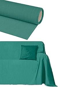 Byour3® Funda De Sofá Algodón 3 4 5 Plazas Granfoulard Tela Sofa Cubre Todo Protector De Sofás Forma de L U Chaise Longue Derecho Izquierdo Lavable (Verde petróleo, 3 plazas 260x275 cm)
