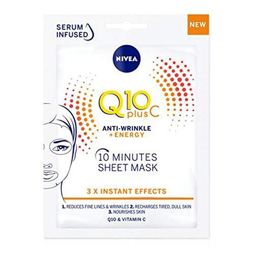 NIVEA Q10PlusC Mascarilla de Tejido Antiedad + Energizante (1 ud), mascarilla antiarrugas con 3 efectos instantáneos, mascarilla facial con coenzima Q10 y vitamina C