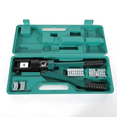 Berkalash Alicates de presión hidráulicos 16T, 16 – 300 mm², juego de alicates hidráulicos, crimpadora con cabezal de prensado giratorio, aluminio y alambre de cobre