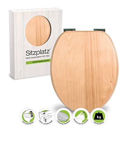 SITZPLATZ 40309 2 WC-bril Venezia beuken - WC-bril met softclose-mechanisme - toiletbril met houten fineer & Fast-Fix snelbevestiging