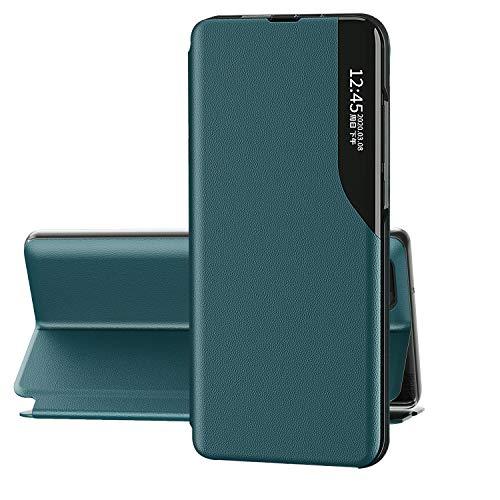 FINEONE® Funda Clear View Cover para Xiaomi Redmi Note 10 4G/Note 10S 4G Elegante Standing Flip Caso, Verde