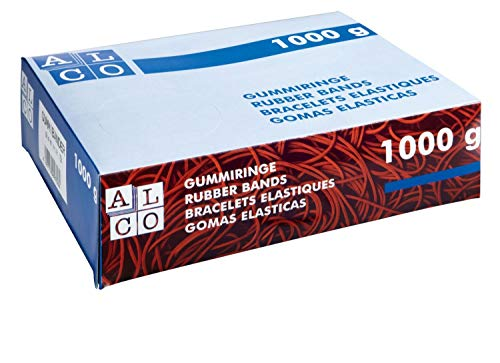 ALCO-Albert 763 - Gummibänder, 200 x 6 mm, 1 kg, rot