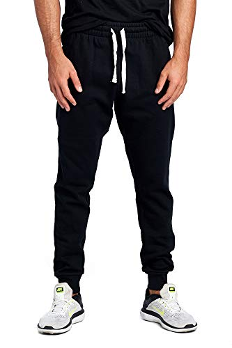 ProGo Men's Casual Jogger Sweatpants Basic Fleece Marled Jogger Pant Elastic Waist (Large, Black (Slanted Pocket))