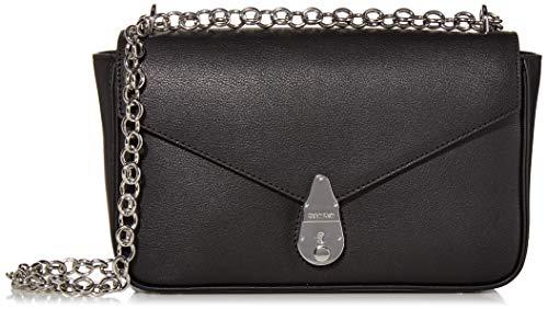 Calvin Klein Damen Lock Crossbody Umhängetasche, schwarz/Silber, Einheitsgröße