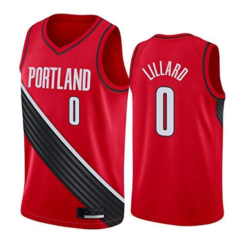 FRQQ Blazers #0 Lillard Jersey para hombres, 2021 Nueva Temporada Gris Bonificación Edición Baloncesto Swingman Jerseys, S ~ XXL rojo 2-S (55 ~ 65KG)