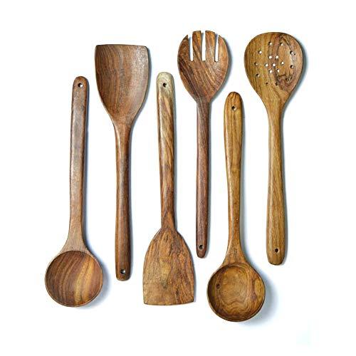 Juego de utensilios de cocina de madera, los mejores utensilios de cocina, 6 piezas, cuchara y espátula, mezcla perfecta para ollas y sartenes antiadherentes