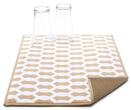 Microfiber Dish Drying Mat by Great Gatherings Tan & White Geo