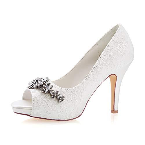 Emily Bridal Zapatos de Novia de Marfil Peep Toe Zapatos de Novia...
