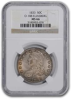 1833 Capped Bust Half Dollar MS-66 NGC (O-108) Half Dollar MS-66 NGC