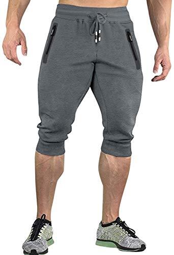 KEFITEVD Pantalones de chándal 3/4 para hombre, de algodón, para verano, deportivos, para ocio, entrenamiento, elásticos, capri, para exteriores, senderismo, ciclismo, color gris oscuro, 34