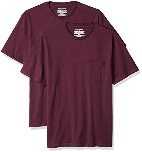 Amazon Essentials - Pack de 2 camisetas de manga corta y corte holgado con cuello redondo y bolsillo para hombre, Rojo (Burgundy Bur), US S (EU S)