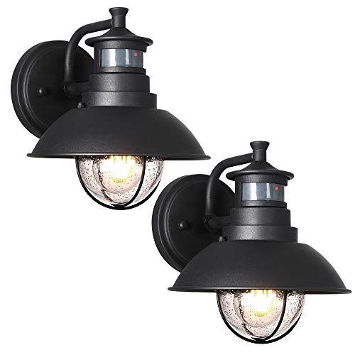 Untrammelife Rustic Outdoor Wall Light Fixture with Dusk to Dawn PIR Motion Sensor Matte Black Outdoor Wall Lantern Lamp with Clear Seedy Glass Shade for Porch Barn Front Door, 2 Pack