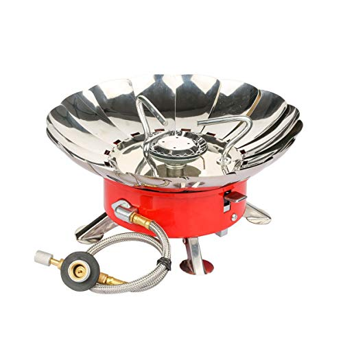 Willor Camping Gas Stove Portable Backpacking Gas Stove Windproof Camp Stove with Piezo Ignition and Adjustable Valve (Propane or Butane Propane)