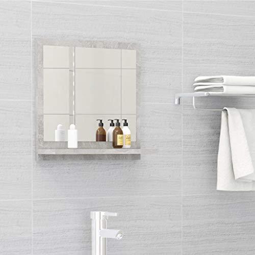 vidaXL Badspiegel mit Ablage Wandspiegel Badezimmerspiegel Hängespiegel Bad Spiegel Badezimmer Badmöbel Betongrau 40x10,5x37cm Spanplatte