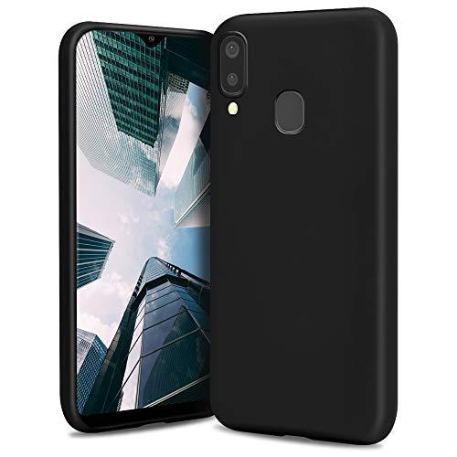 Moozy Lifestyle. Funda para Samsung A40, Negra - Cover Carcasa de Silicona Líquida con Acabado Mate y Forro de Microfibra Suave