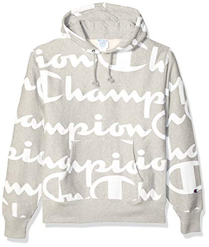 Champion LIFE Men's Reverse Weave Pullover Hood-Print, Giant CHP Script Oxford Grey, X-Large