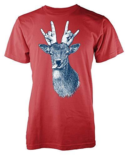 Reindeer Deer with Rock Gesture Antlers Animal Adult Kids Unisex T Shirt Red