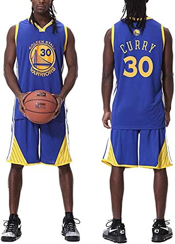 Hombres # 30 Pantalones Cortos De Baloncesto Retro Jersey De Verano Camisa Y Pantalones Cortos Set, Chaqueta Chaleco, Blanco, Blue - XL