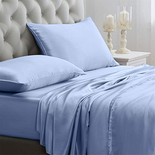 Orose 4Pcs 100% Charmeuse Mulberry Silk Bed Sheet Set Seamless Deep Pocket (Queen, Light Blue)