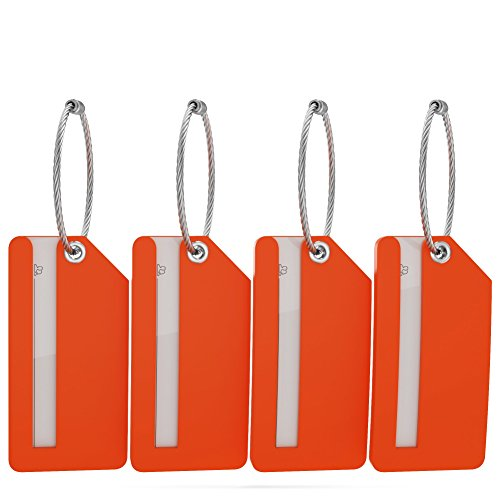 Small Luggage Tags with Privacy Cover & Metal Loop - (4pk, Orange)