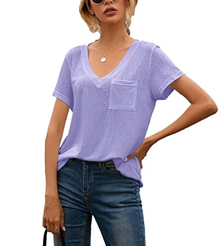 T-Shirt Damen Sommer Einfarbig...