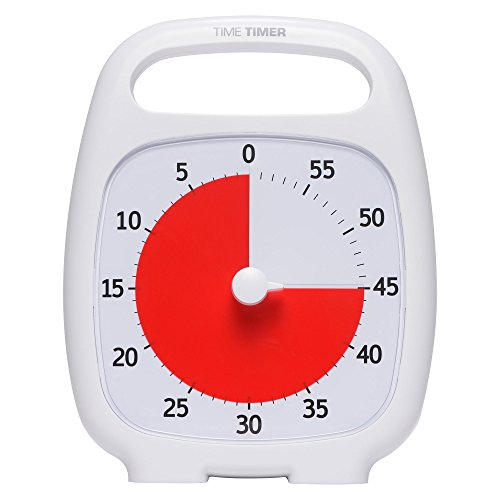 Time Timer - TTP7-WHT-W PLUS 60 Minute Desk Visual Timer — Countdown Timer with Portable Handle for Classroom, Office, Homeschooling, Study Tool with Silent Operation (White)