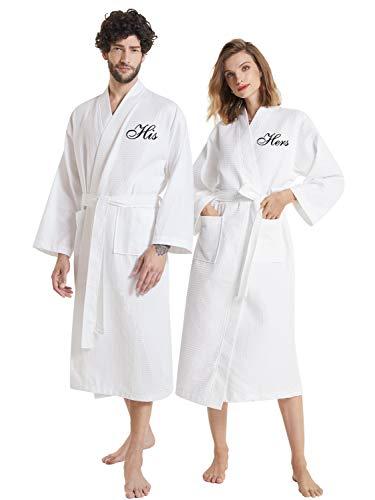 AW BRIDAL Bata de gofre blanca de felpa Albornoz de toalla Albornoz de toalla Conjunto de bata de kimono para parejas, para él y para ella