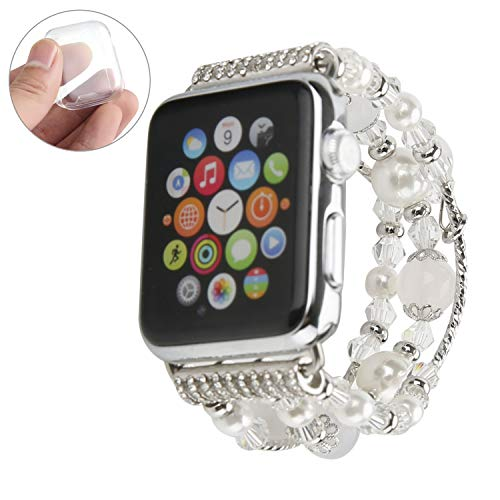 GEMEK Compatible With White Apple Watch Band 38mm 40mm Women Agate Pearl Bracelet Strap, Fashion Handmade Elastic Replacement for iWatch Bands Series 6/5/4/3/2/1 Girls Wristband (Silver 38mm)