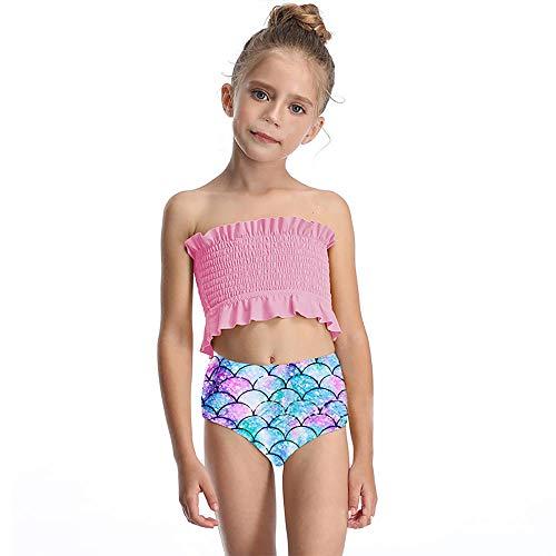JSZMD Parent-Enfant Maillots de Bain Famille Bikini Taille Haute Mignon Volants Impression Dété Pour Mode Set Beach Wear-Rose_140