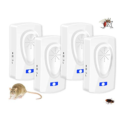 Repelente Ultrasónico Antimosquitos,Repelente mosquitos,Trampas para ratones Repelente ratones Mata cucarachas,Eléctrico Extra Fuerte...