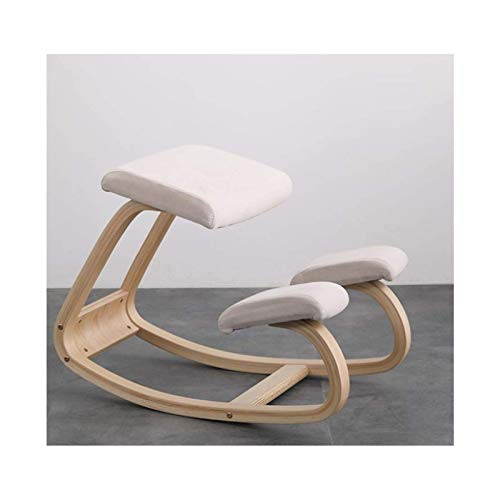 Home Ergonomic Kneeling Chair Ergonomic Knee Chair Upright Home Office and Meditation Use Rocking Chair Knee Chair for Back and Neck Pain Relief White