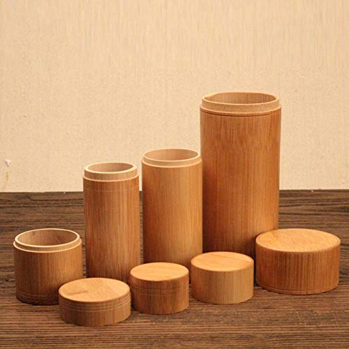 Pot de thé Boîte de Rangement scellée en Bambou Conteneur en Pot Droit avec Support de Couvercle en Bois Caddy Porable Théière Voyage en Plein Air Boîtes Cadeaux Bidons Type