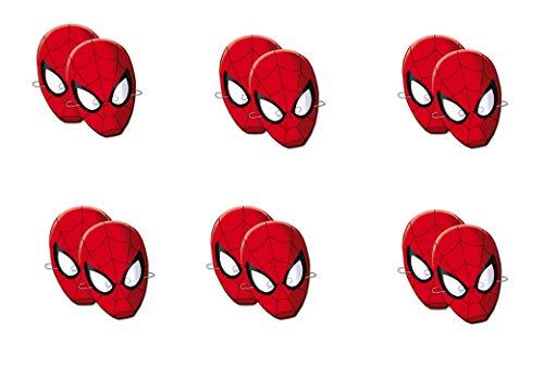 ALMACENESADAN 0555, Pack 12 caretas Spiderman, Fiestas