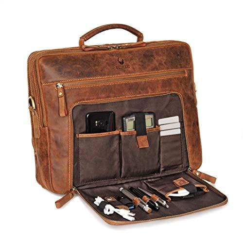 DONBOLSO® Laptoptasche San Francisco 15,6 Zoll Leder I Umhängetasche für Laptop I Aktentasche für Notebook I Tasche für Damen & Herren (Braun)