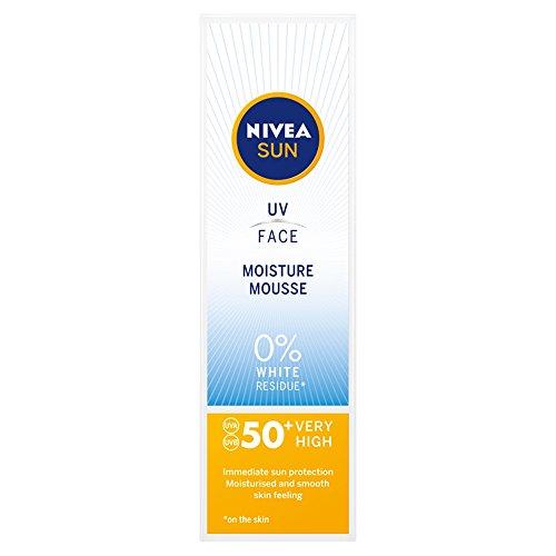 NIVEA UV Face Moisture Mousse SPF50 (75ml), Q10 Face Sun Cream, UV Face Cream, Moisturising Cream with SPF50 for Daily Use, Sunscreen for Immediate UVA/UVB Protection