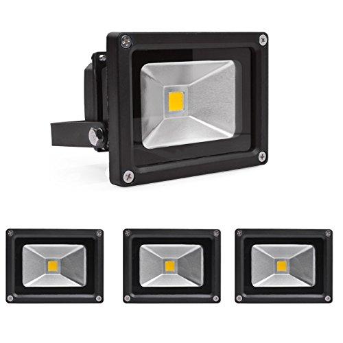 Greenmigo 10W Fluter Strahler Warmweiß Schwarz Aluminium Gehäuse IP65 Wasserdicht LED Scheinwerfer Wandleuchter Flulicht Flutbeleuchtung LED Gartenlampe Außenstahler